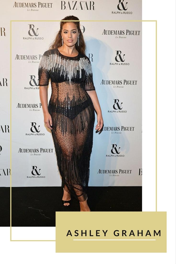 Người mẫu big size Ashley Graham tự tin khoe vóc dáng với váy xuyên thấu của Marnina Rinaldi