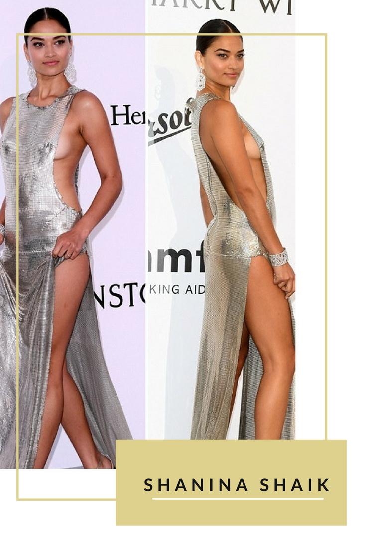 Một ngôi sao nữa xuất hiện với style khoe thân lộ hàng ở sự kiện amfAR là Shanina. Chiếc váy màu bạc cô mặc được cut-out rộng hai bên sườn khiến vòng 1 của người đẹp chỉ trực lộ ra ngoài