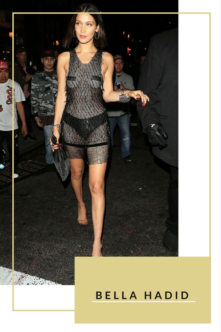 Bella Hadid tiếp tục ghi danh vào danh sách này với bộ váy hở táo bạo của nhà mốt Alexander Wang