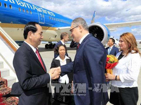 Chủ tịch nước Trần Đại Quang bắt đầu thăm chính thức Liên bang Nga