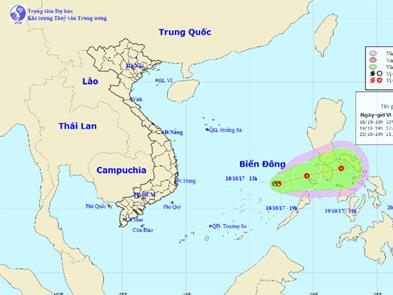 Vùng áp thấp có khả năng mạnh lên thành áp thấp nhiệt đới