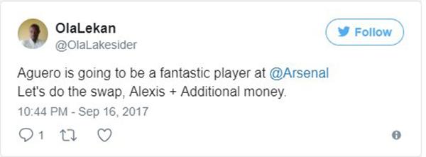Nhìn Aguero lập hat-trick, fan Arsenal tiếc hùi hụi – tin Arsenal