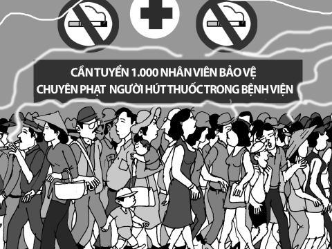 Phạt người hút thuốc - Tranh của họa sĩ NOP